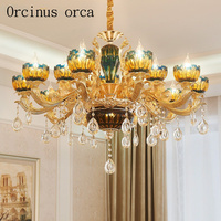 French Peacock Blue Crystal Chandelier Villa Hotel Living Room Dining Room Bedroom European Style Luxury Color
