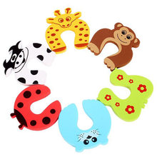 5pcs Baby Child Proofing Door Stoppers Baby Toddler Toys Cartoon Animal Random Holder Lock Safety Guard Finger Protect Toy(China)