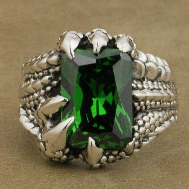 US $52.2 10% OFF|LINSION 925 Sterling Silber Dragon Claw Ring Großen Grünen CZ stein Herren Biker Punk Stil 8E306 Us größe 7,5 14 in LINSION 925