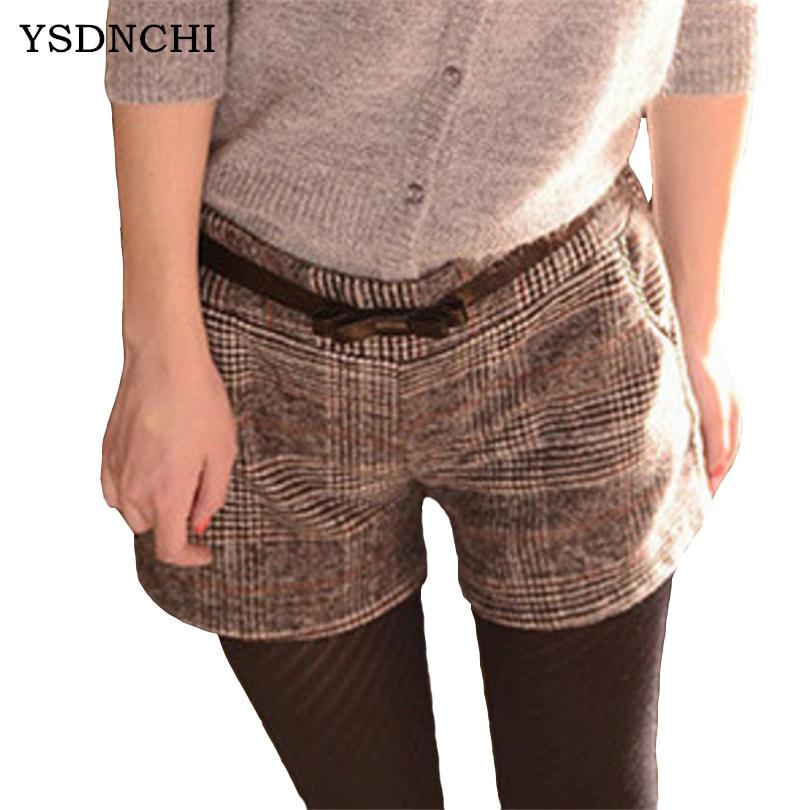 Plus Size   Shorts   Fashion Autumn Winter Women Straight Large Thicken Plaid Casual Elastic Waist Cotton Lattice Loose   Short   D017