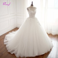 Fmogl Vestido De Noiva O Neck Lace Up Ball Gown Wedding Dresses 2018 Gorgeous Appliques Princess