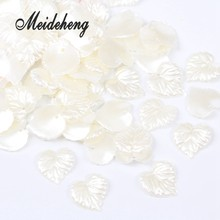 160pc/bag 15x16mm Love heart ABS Creamy-white Pearl Leaf Bride Hair Ornaments DIY Beads For Jewelry Design Collocation Material(China)