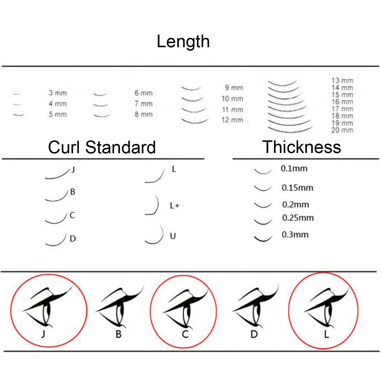 Blink Make up False Eyelash Mixed Length J/C/B/D Curl 0.10/0.15/0.20/0.25mm Thick For Eyelash Extension Individual Mink Eyelash
