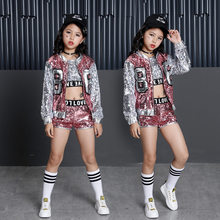 Tammy Ada Kids Girl Sequin Dancing Pink Silver Jacket Coat Crop Top Shorts 3pcs Sets Hip-hop Jazz Dance Clothes Children Sets(China)