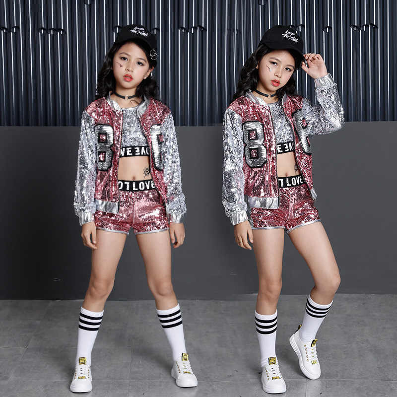 65adb294d19bc Tammy Ada Kids Girl Sequin Dancing Pink Silver Jacket Coat Crop Top Shorts  3pcs Sets Hip