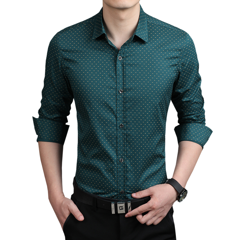 HOTSALE Polka Dot Shirts Men Casual Long Sleeve Shirts Mens Dress ...