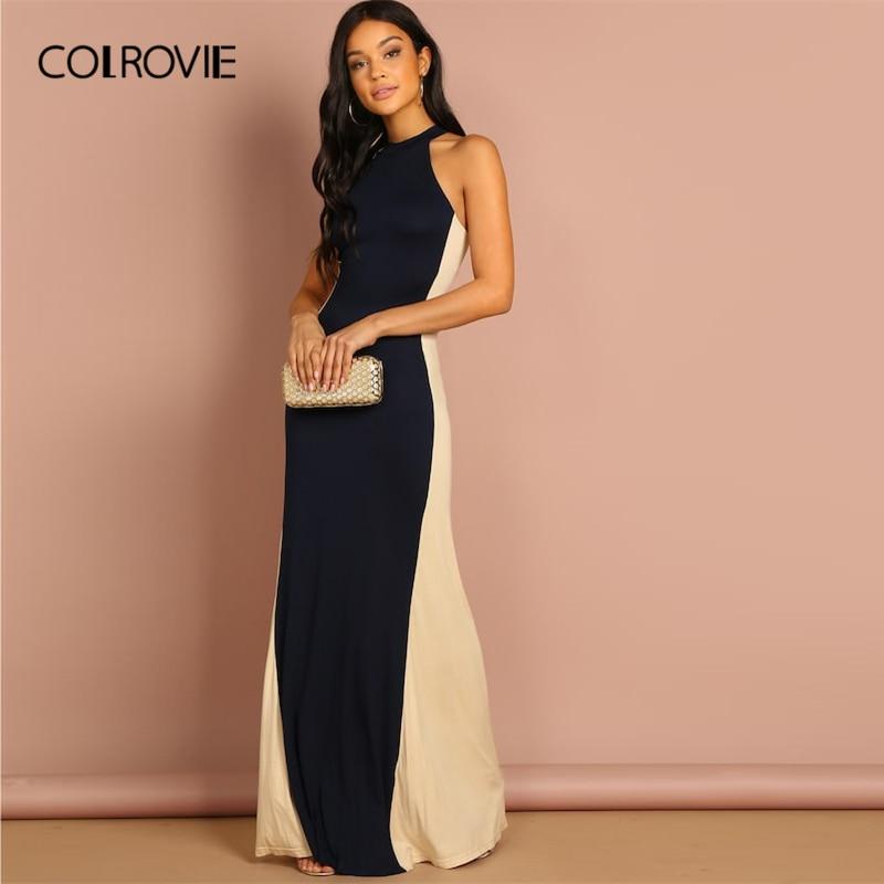 bd4a6f202 COLROVIE bloque de Color Halter Slim elegante vestido de fiesta de las mujeres  2019 de moda vestido sin mangas Maxi vestido de noche Vestidos de las  señoras
