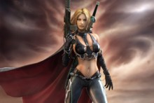 Home decoration sexy mecha woman automatic sword cape arms Silk Fabric Poster Print YR118