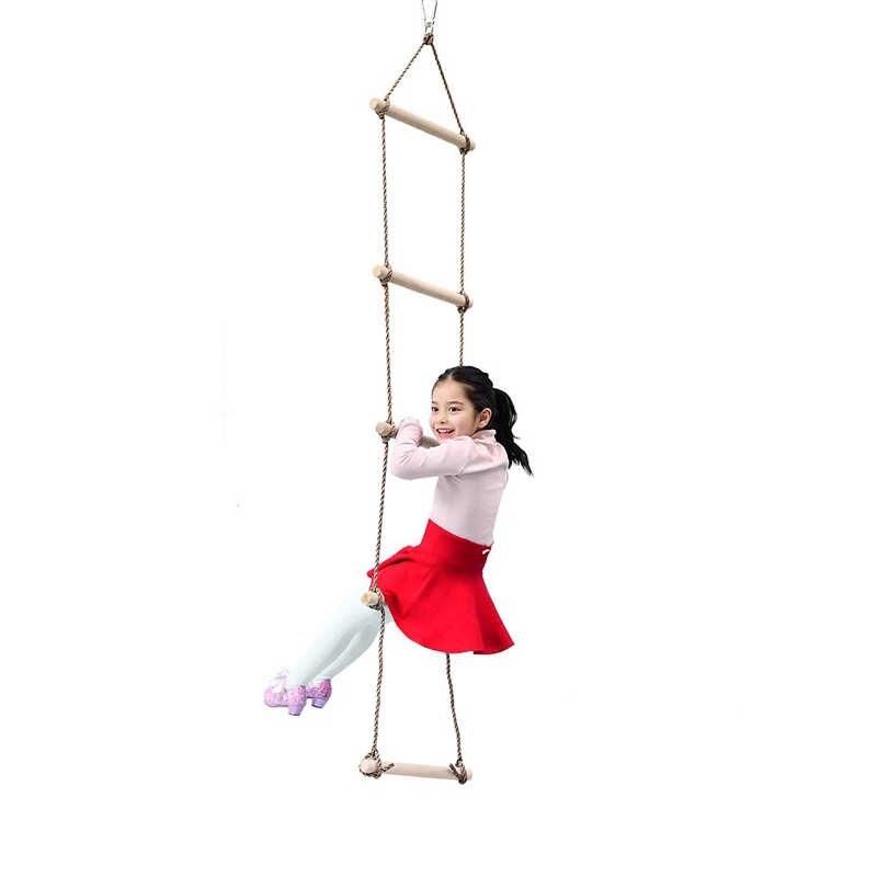 1 Pcs Anak Kayu Tangga Lima Langkah Kecil Kayu Memanjat Tangga Indoor Outdoor Kebugaran Mainan Anak Ayunan Taman Bermain peralatan