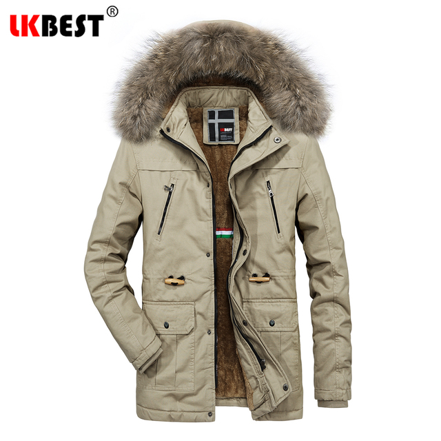 Special Price LKBEST Long Winter Coat Men Fur Collar Windproof Parkas Thicken Windbreaker Keep Warm winter jacket men Casual Overcoat PW666