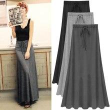Женская длинная юбка миди черная трапециевидная с высокой талией