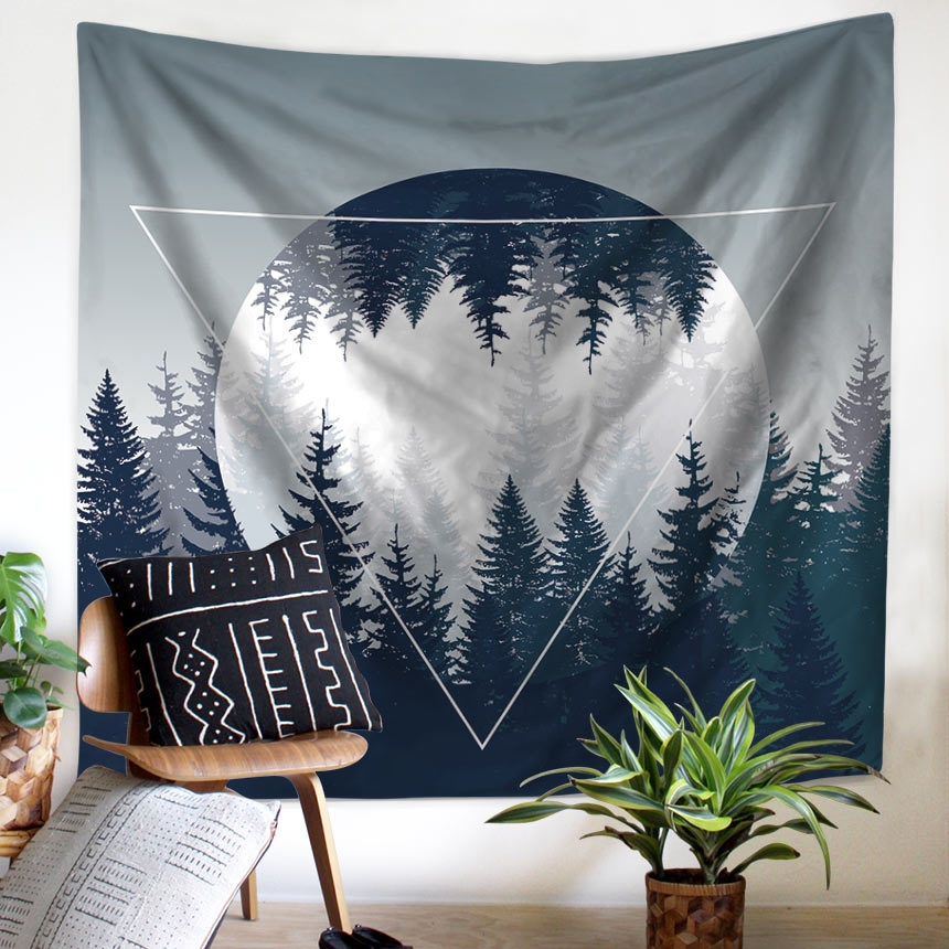 Wall Tapestry Fog Tree Forest Mountain Wilderness Forest