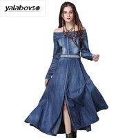 Yalabovso 2017 New Arrivals Mùa Thu Denim Emboridery Thanh Lịch Cổ Điển Slash Cổ Dresses cho người phụ nữ với Dây Thắt Lưng A50-A82050 z20