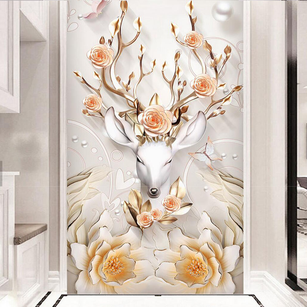Europe Style Money ELK Rose Photo Wallpaper HD Wall Mural for Living Room Hallway Luxury Wall Paper Custom Size Entrance Murals custom photo wallpaper high quality wallpaper personality style retro british letters large mural wall paper for living room