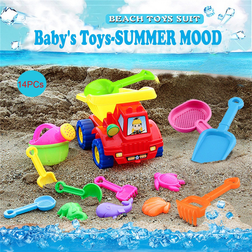 Summer Beach Toys Deluxe Playset For Kids - 14 Pieces Large Dump Truck Sand Shovel Set (Assorted Colors)  Toy For Kid  F1