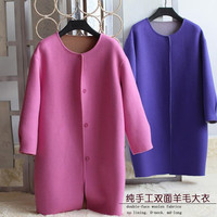 specials hand made women fashion overcoat O neck double face woolen fabrics md long straight version wide waisted S 3XL