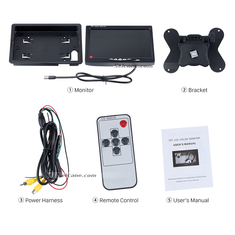 Seicane 7 inch Universal HD 1024*600 TFT LCD Car Auto Parking Monitor Backup Rearview Camera Digital Video Recoder DVR