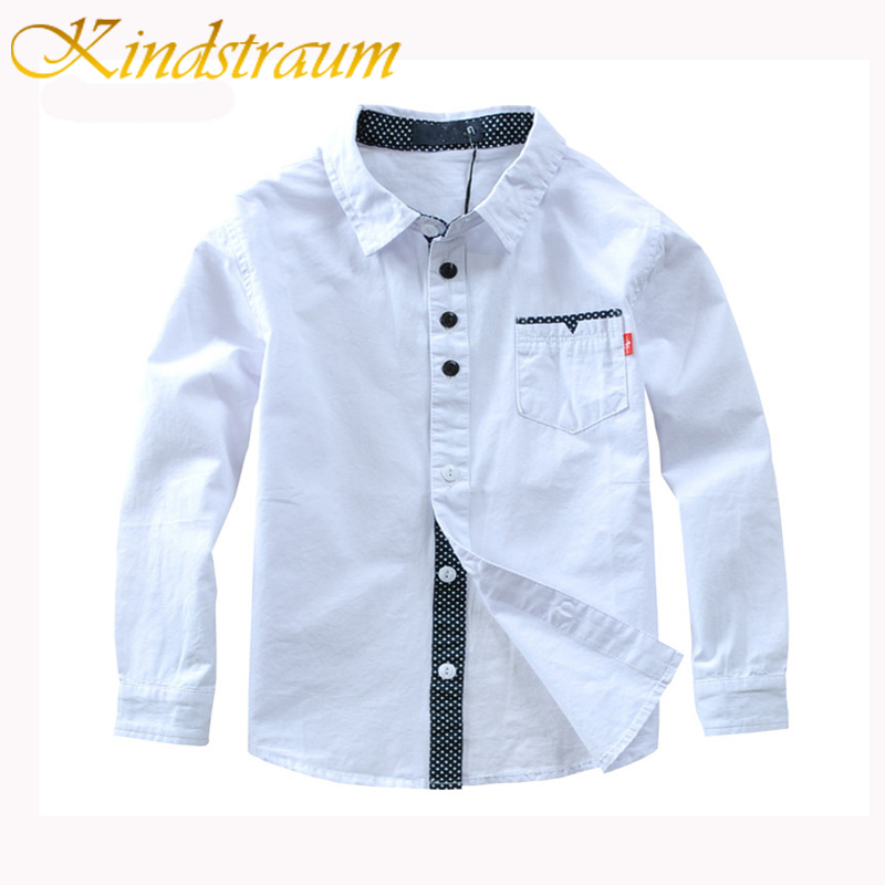 Kindstraum Boys Shirts Solid Pattern Kids Fashion Cotton Shirts Long Sleeve Spring & Aut ...