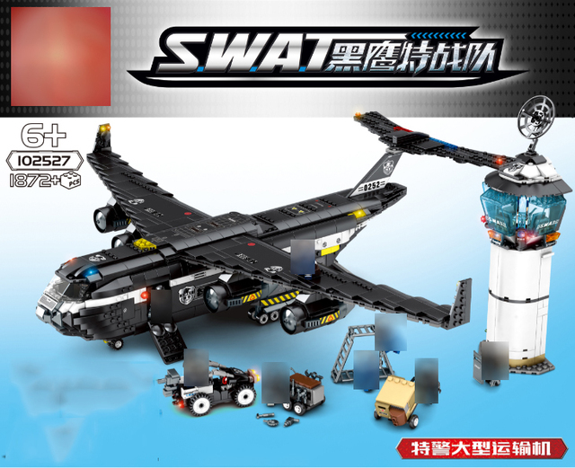 City Police Black Hawk Project Serie SWAT large transport aircraft Building Blocks Gift for kid City