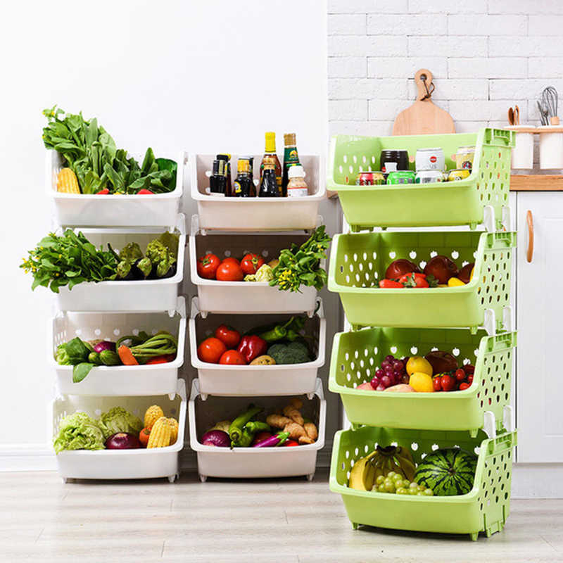 1Pcs Plastic Can Be Stacked Storage Basket Fruit And Vegetables Holders Rack Store Many Debris Kitchen Tools FY0047