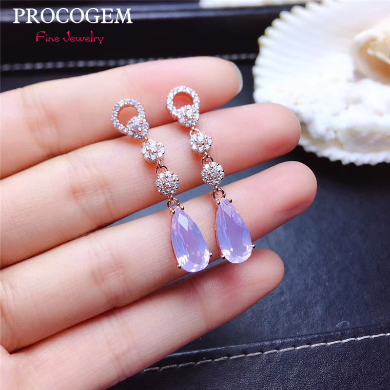 Natural Trendy lavender Kunzite CZ Drop Earrings for Women Party 6x12mm Genuine gemstones Fine jewelry 925Sterling Silver #405Natural Trendy lavender Kunzite CZ Drop Earrings for Women Party 6x12mm Genuine gemstones Fine jewelry 925Sterling Silver #405