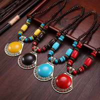 Women S Exaggerated Blue Round Large Pendant Necklace Traditional National Wind Accessories Wholesale