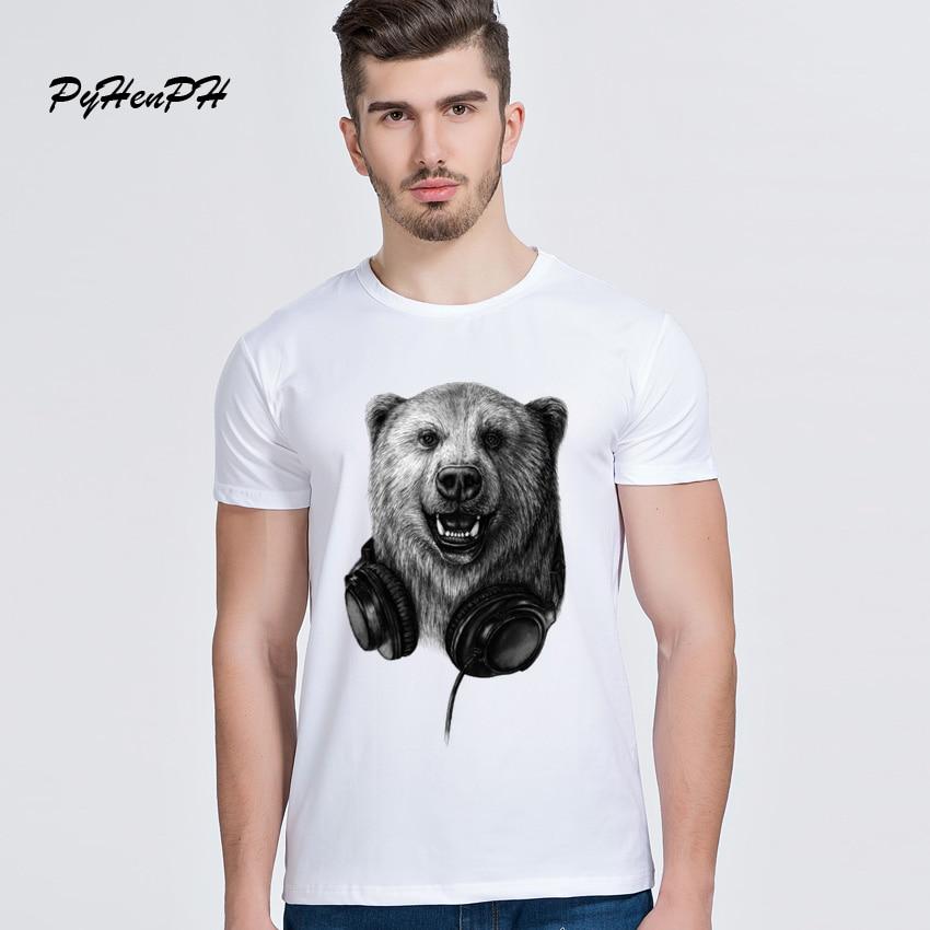 PyHenPH 2017 Brand Men T Shirt Fashion DJ Bear Design T-shirt For Male Wild Music Funny Animal Print Tshirt Homme Man Streetwear
