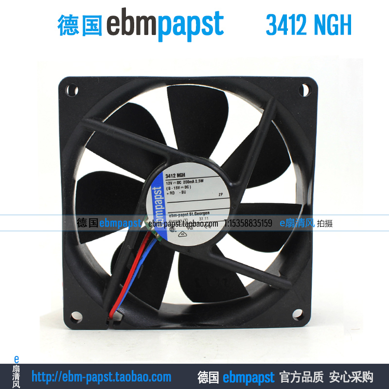 ebm papst 3412NGH 3412 NGH DC 12V 0.208A 2.5W 92x92x25mm Server Square fan ebm papst 412fm 412 fm dc 12v 0 045a 0 55w 40x40x10mm server square fan