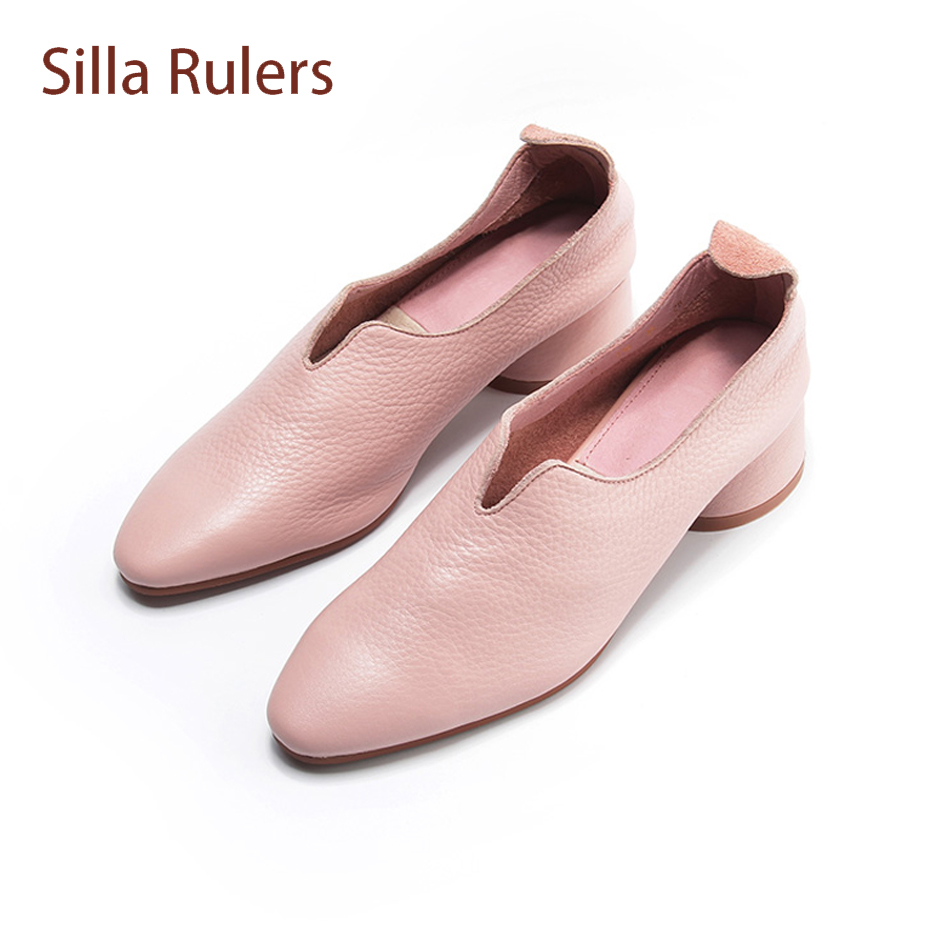 Silla Rulers Women Pumps Spring Autumn Soft Cow Leather Chunky Med Heel Square Toe Ladies Shoes Solid Color Slip On Females Shoe обложки petek обложка для документов