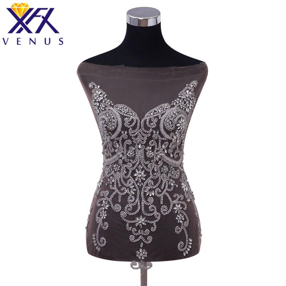 Xfxvenus 예쁜 구슬 라인 석 패치 꽃 파란색 된 bodice applique 크리스탈 applique 웨딩 드레스에 대 한 큰 크기-에서패치부터 홈 & 가든 의  그룹 1