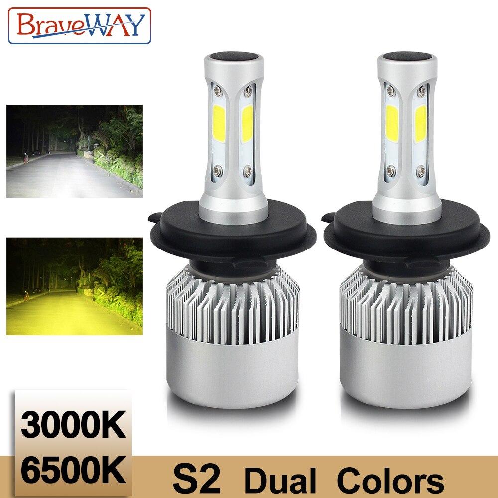 BraveWay S2 Led Double Couleur Phare Ampoules H4 H7 9005 HB3 9006 HB4 8000L 3000 k 6500 k Blanc Jaune brouillard Lumière Lampe Automatique pour la Voiture