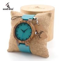 ボボ鳥メンズ黒檀ウッド腕時計タイムピースシンプルなブルーデザイン男