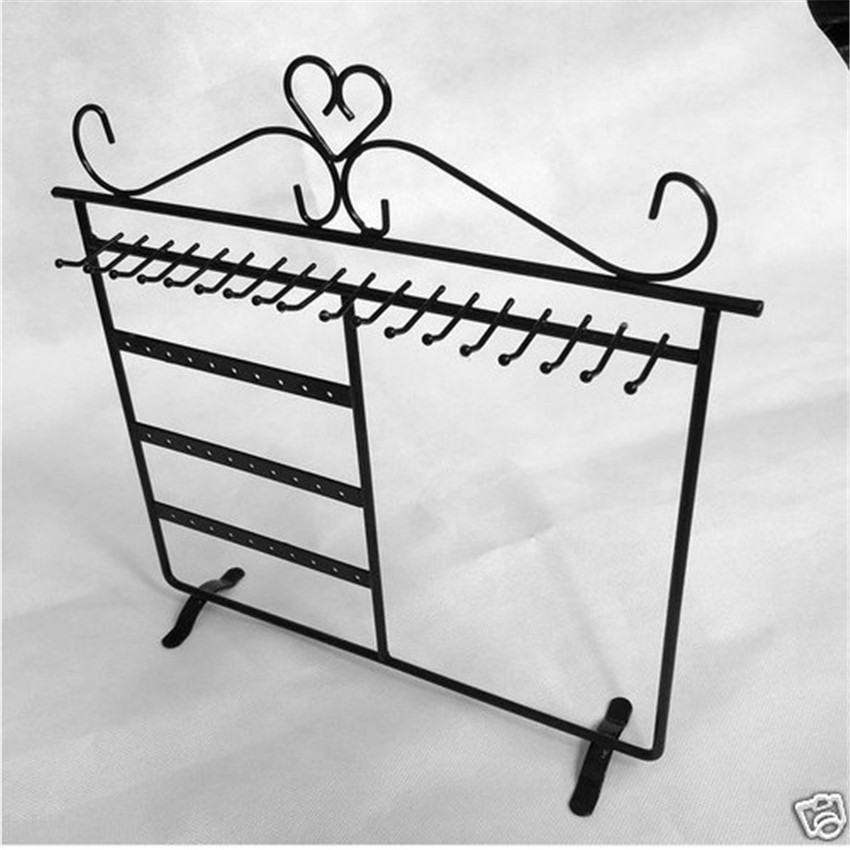 1pc Black Earrings Necklace Stand Holder Display Free Shipping 30Holes 17Hooks ED003