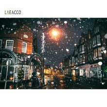 Laeacco Old Town Street Winter Snowflake Light Night Scenic Photographic Backgrounds Photography Backdrop Photocall Photo Studio