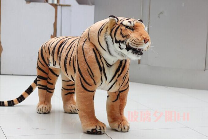 huge plush tiger toy simulation yellow standing tiger doll large tiger doll birthday gift about 110x70cm 2405 stuffed animal 110 cm plush simulation lying tiger toy emulation yellow tiger doll great gift free shipping w400
