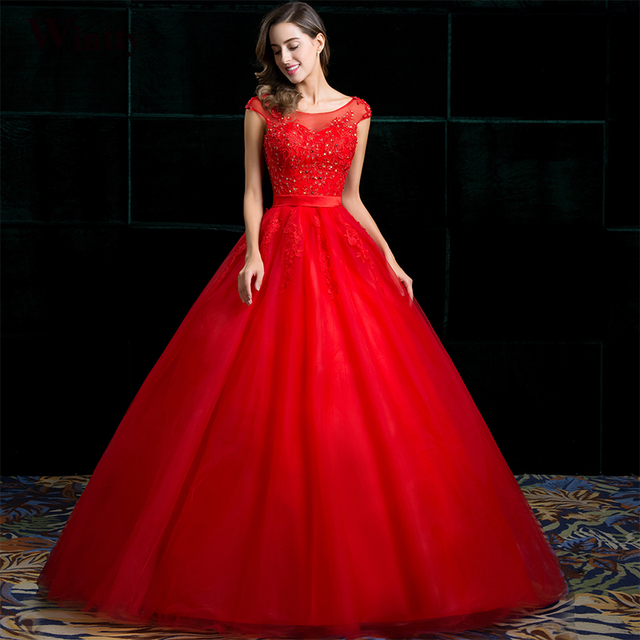 Wedding Gowns With Red: Wintty Wedding Dresses Lace Vintage Plus Size Red Color