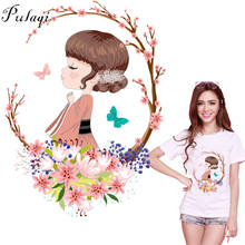 Pulaqi Beautiful Girls Iron-On Heat Transfers Vynil Transfer Stickers Wholesale Patch For DIY Clothes Decor Applique Stripe