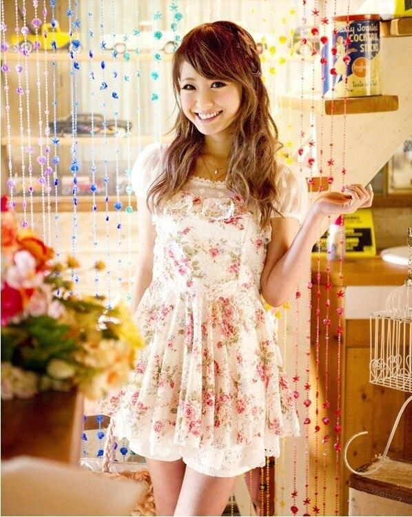 Liz Lisa Lace Mesh Selvedged Flower Printing Short Sleeve Dress