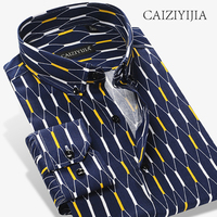 CAIZIYIJIA High Quality 100% Cotton Mens Shirt Luxury Brand Long Sleeve Camisa Masculina Casual Button Down Band Clothing Shirt
