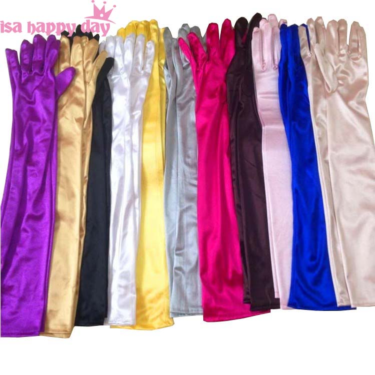 Multi Color Bride Cheap Wedding Accessories Bridal Elbow White Black Red Ladies Pageant Dress Satin Fingerlings Elegant Gloves