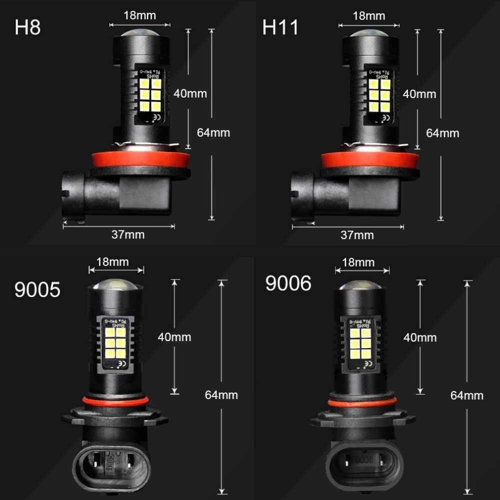 2pcs H8 H11 LED Car Lights LED Bulbs 9005 HB3 9006 HB4 White Daytime Running Lights DRL Fog Light 6000K 12V Driving Lamp 6000K