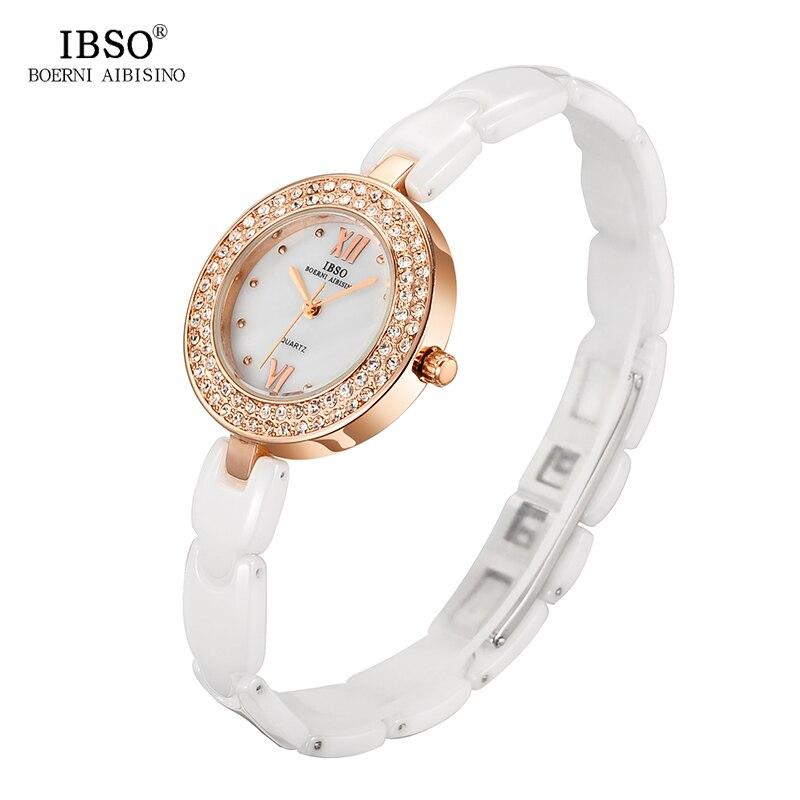 IBSO Ladies Watches Ceramics Brand Luxury 2017 Quartz Gold Watch Women Band Diamond Fashion Montre Femme ibso top brand women watches 2017 shell dial genuine leather band watch women casual fashion quartz wristwatches montre femme