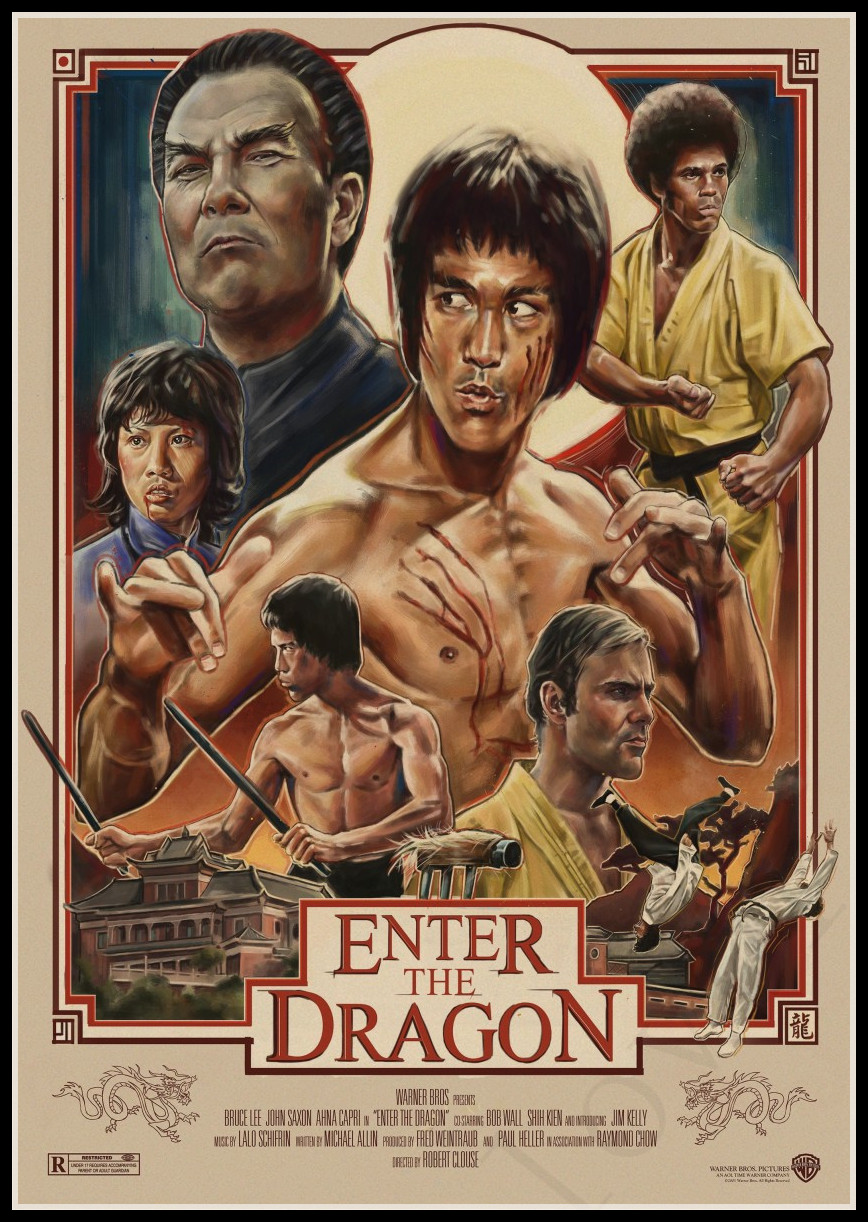 Bruce Lee Enter The Dragon Kraft Paper Posters Print Super Kung Fu