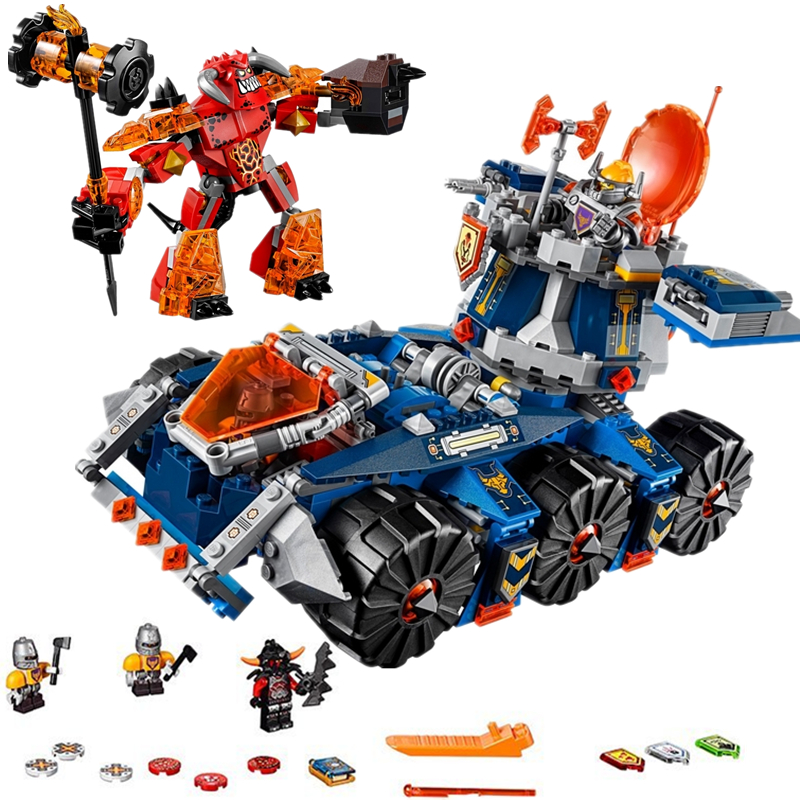 LEPIN Nexo Knights Axl Axls Tower Carrier Combination Marvel Building Blocks Kits Toys Compatible Legoings Nexus 70322 lepin nexo knights jestros volcano lair combination marvel building blocks kits toys compatible legoings nexus legoings