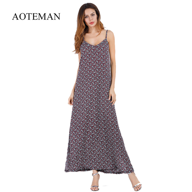 AOTEMAN Long Summer Dress Women Sexy Elegant Backless Strapless Dress Female Floral Print vintage Beach Party Dresses vestidos