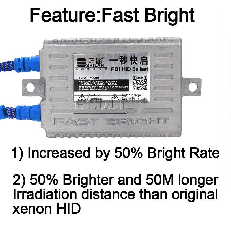 HCDLT Car Headlight Kit Xenon H7 55W 5500K Fast Bright HID H1 H7 H11 HB3 HB4 D2H Xenon Bulb Kit 55W Quick Start Ballast Reactor (3)