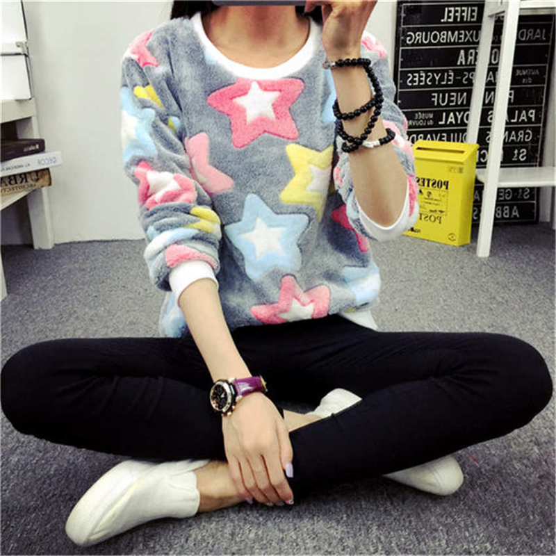 Women's sweater casual O-neck long-sleeved print Fleece warm sweater 2018 fashion sweet and self-cultivation women's tops tide