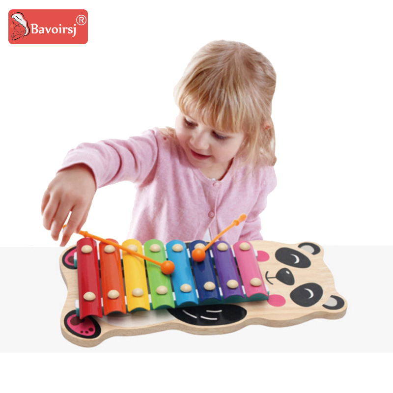 Metal Wooden Montessori Toys Piano Baby Knock on Rainbow Color Owl Cartoon Wood Early Educational Toy 6-24 Months Baby T0193