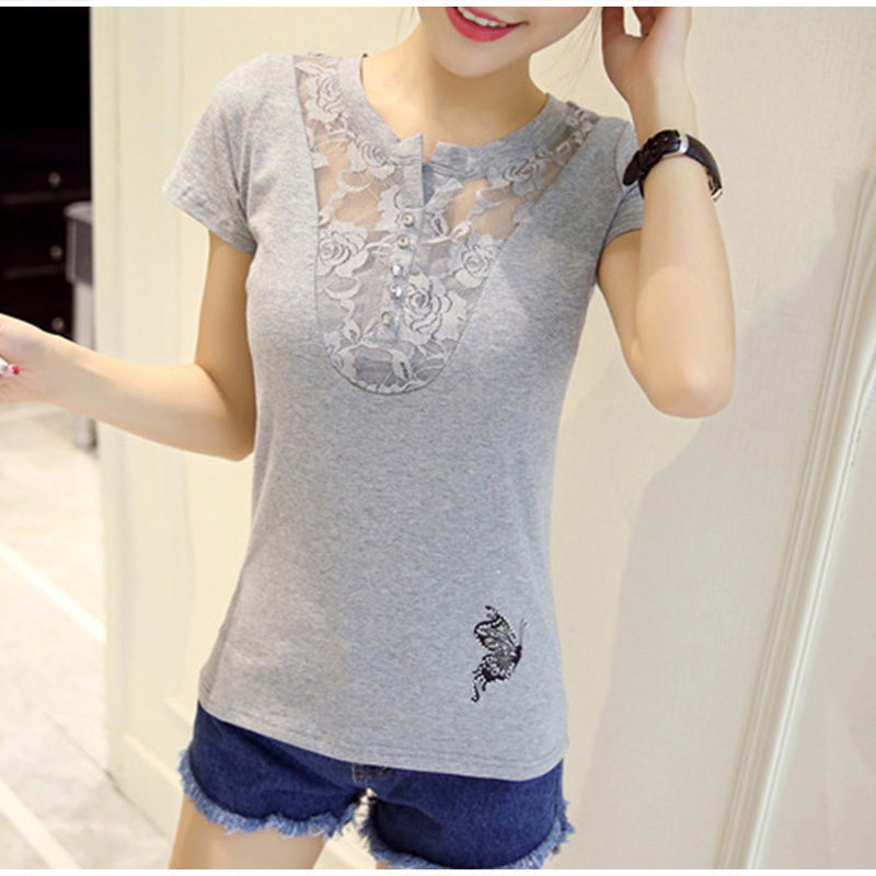 Women's Short Sleeve Lace Patchwork T-Shirt Print Office Lady Casual Women T-Shirts Plus Size 3XL 2019 Summer Tees Tops Female 15