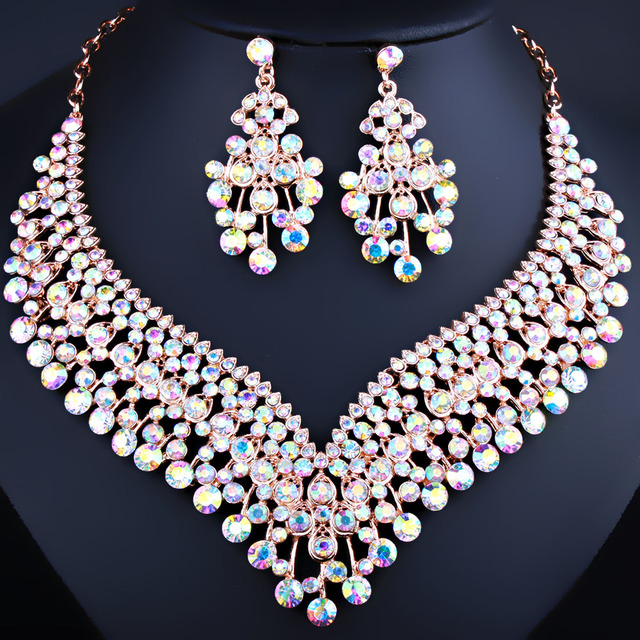 Fashion Wedding Jewelry Shining Tassel Shaped Necklace Earrings set with Rhinestones Charm Crystal Bridal Jewelry Sets